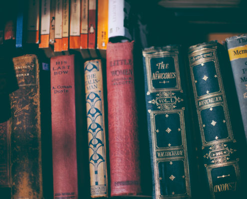 A shelf of old books