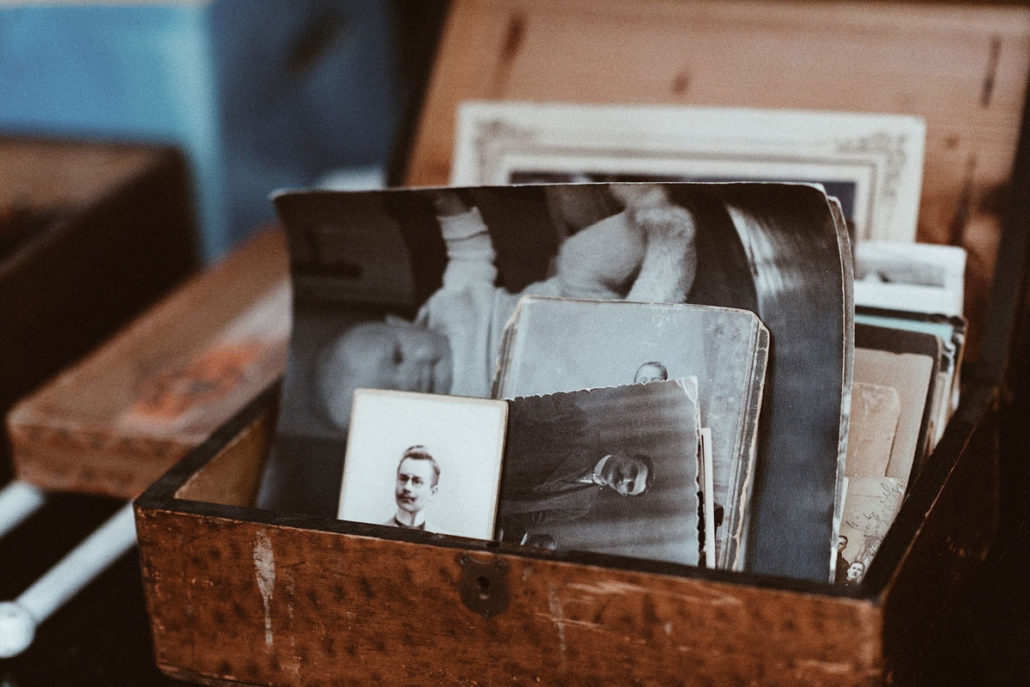 box of old photos in need of preservation