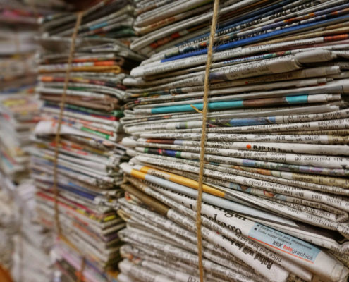 stack of newspaper for preservation